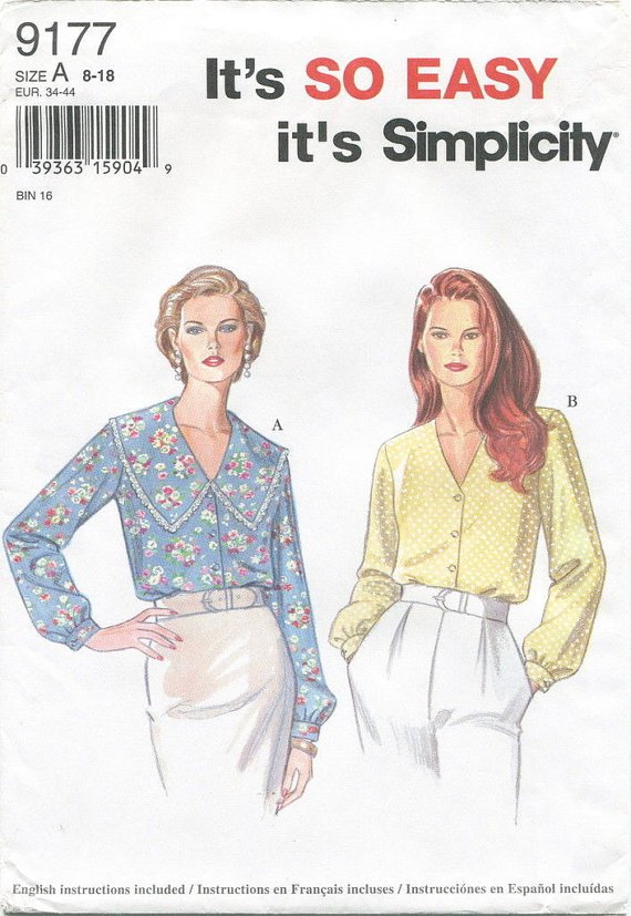 Simplicity 9177 Misses Blouse Sewing Pattern Size 8-18