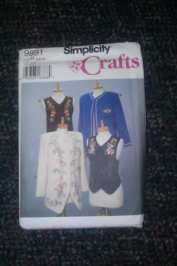 Simplicity 9891 Size H 6,8,10 13pcs and Transfers Misses Jackets Vest Uncut Pattern
