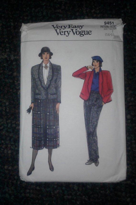 Very Easy Very Vogue Pattern 9451 14-16-18 Misses Jacket Skirt Pants Tweed Cut