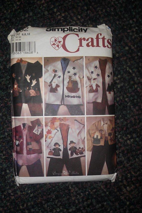 Simplicity 7032 Applique Jacket Pattern 6 8 10 Flag Angel 1996 7032