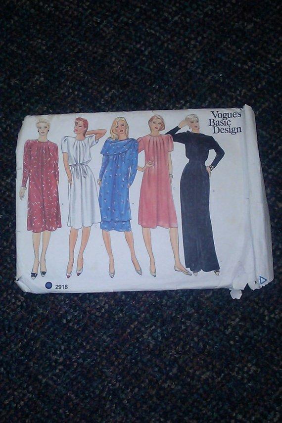 Vouges Basic Design 2918 Misses Dress Tunic, Skirt, Belt, Scarf Uncut Pattern