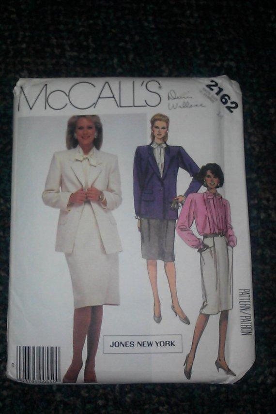 McCall's 2162 Jones New York Misses Jacket, Blouse, Skirt 8, 10, 12, 14, 16 pattern 33 pcs