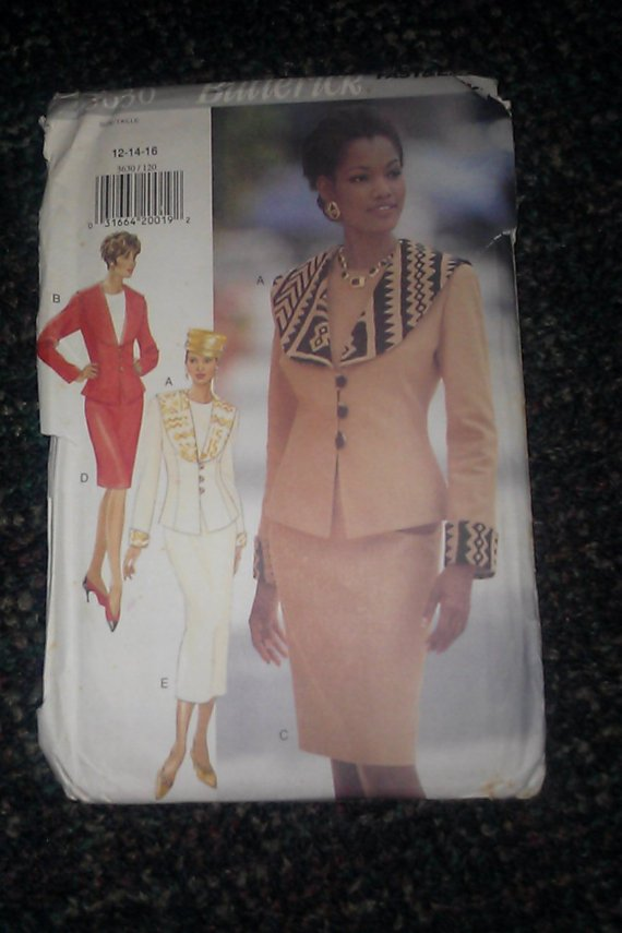 Butterick Pattern 3630 Misses' Very Easy Jacket Top & Slim Skirt / Sz 12-14-16 UNCUT top