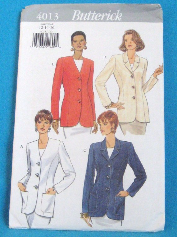 Butterick 4013 Misses Jacket Size 18- 20 - 22 Long Sleeve w/out Pockets uncut
