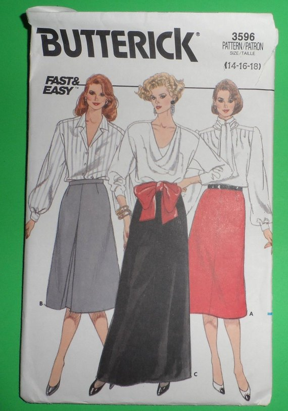 Butterick Misses' Skirt Pattern 3596 8,10,12 Used A-line, Mid knee, evening length