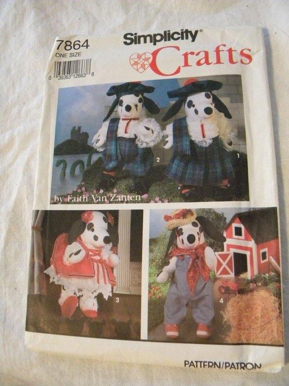 Vintage UNCUT Simplicity Faith Van Zanten Stuffed Dalmatian /Clothes Pattern 7864 30 PCS