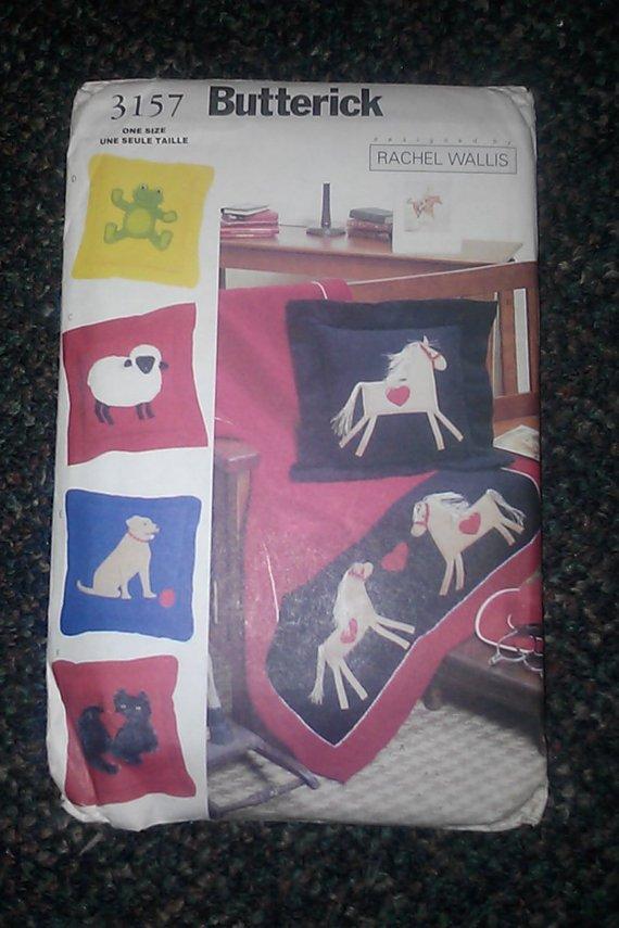 Rachel Wallis Butterick 3157 Animal Throw Pillow Cover Pattern SHEEP CAT DOG