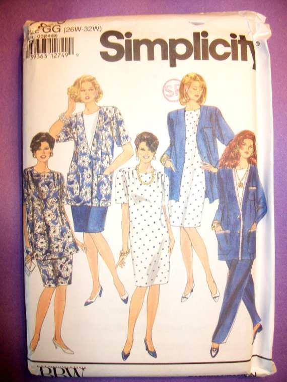 Simplicity Pattern 7896 Womens PLUS Pants Skirt Dress Tunic Jacket GG 26 W-32 W