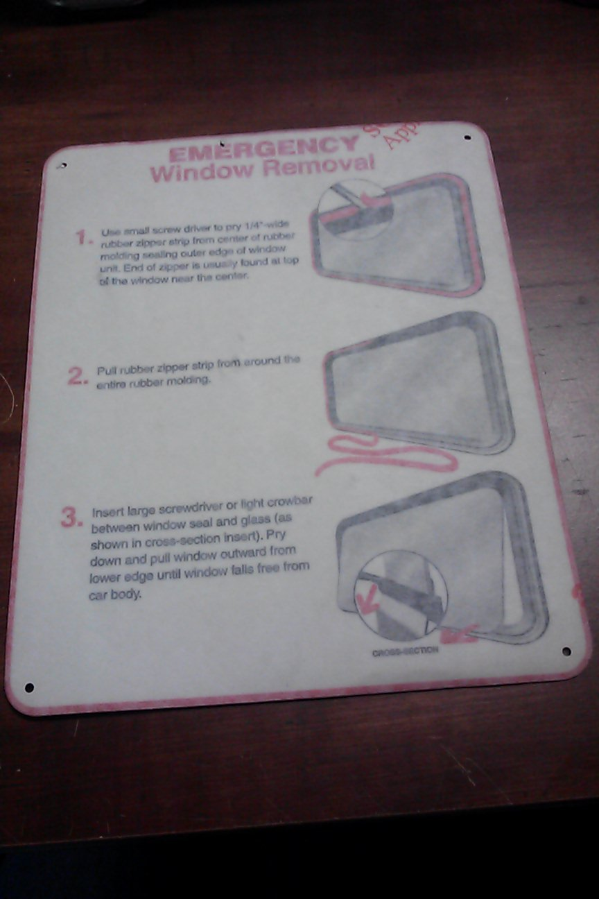 Emergency Window Removal Vinyl Sticker for Business, Window, Door, School, Train