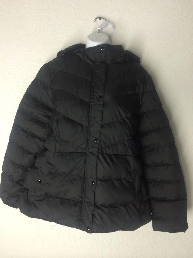 Faded Glory Women's Bubble Jacket (Black) W/ Removeable Hood