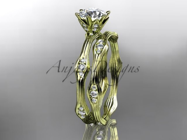 14kt yellow gold diamond leaf and vine wedding ring,engagement ring,engagement set ADLR132S
