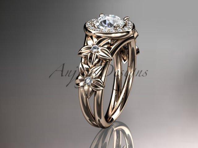 14kt rose gold diamond floral wedding ring, engagement ring ADLR131