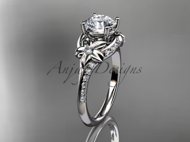 Platinum diamond floral wedding ring, engagement ring ADLR125