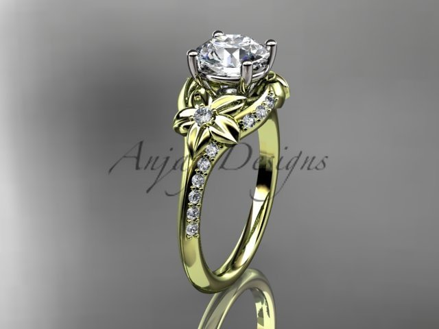 14kt yellow gold diamondwedding ring, engagement ring with a Moissanite center stone ADLR125