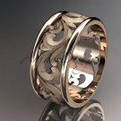 14kt rose gold leaf and vine wedding ring, engagement ring, wedding band ADLR121