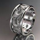 Platinum leaf and vine wedding ring, engagement ring, wedding band ADLR121