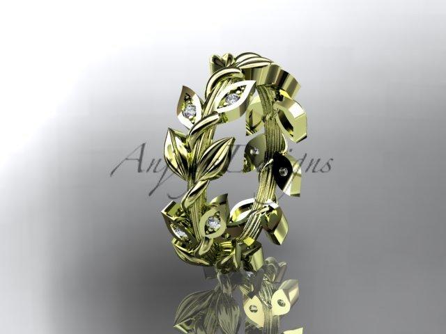 14kt yellow gold diamond leaf wedding ring, wedding band ADLR120