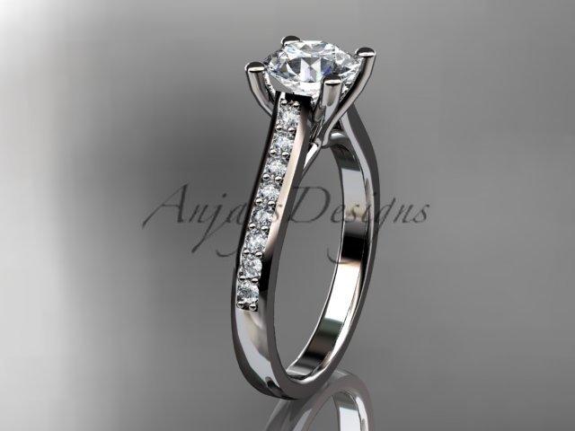 14kt white gold diamond unique engagement ring, wedding ring ADER116