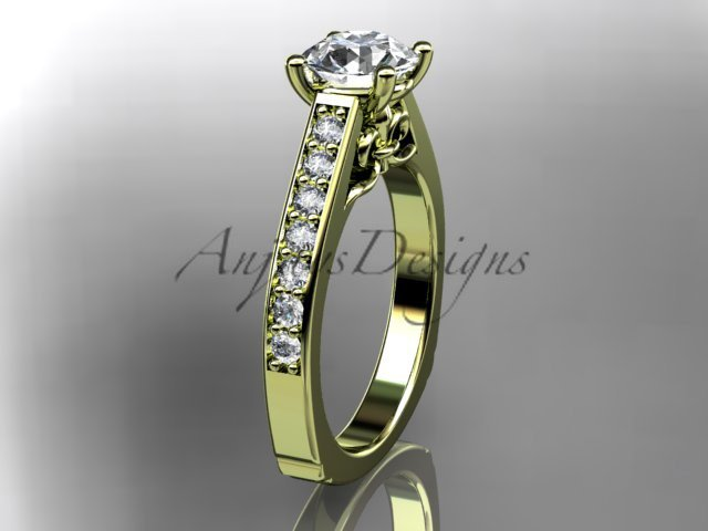 14kt yellow gold diamond unique engagement ring, wedding ring ADER114