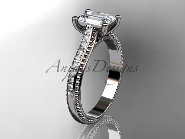 14kt white gold diamond unique engagement ring, wedding ring ADER113