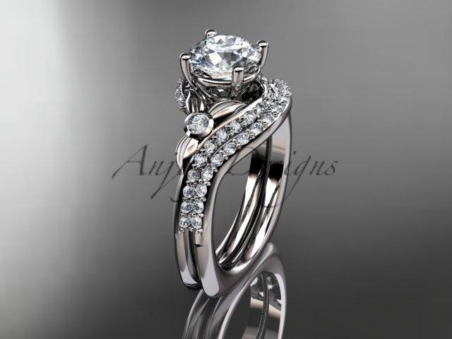 14kt white gold diamond leaf and vine engagement ring set ADLR112S