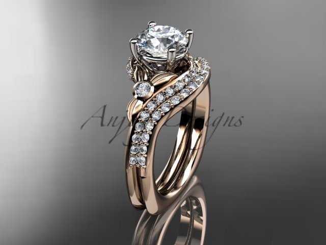14kt rose gold diamond leaf and vine engagement ring set with a Moissanite center stone ADLR112S