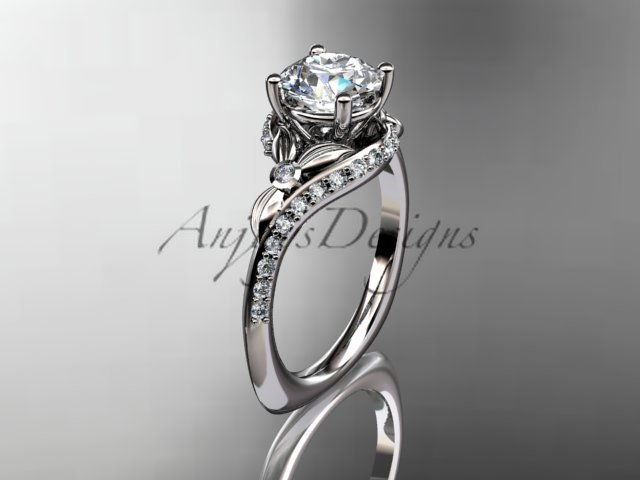 14kt white gold diamond leaf and vine engagement ring with a Moissanite center stone ADLR112