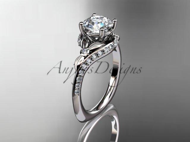 Platinum diamond leaf and vine engagement ring ADLR112