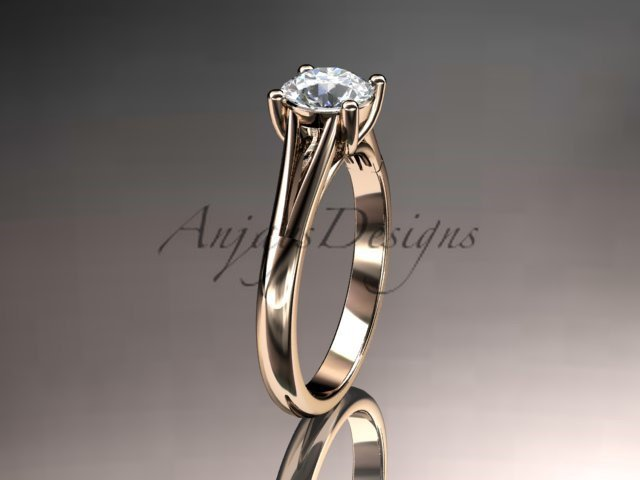 14kt rose gold unique engagement ring, solitaire ring with a Moissanite center stone ADER109