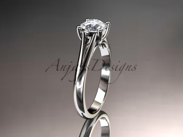 14kt white gold unique engagement ring, wedding ring, solitaire ring ADER109
