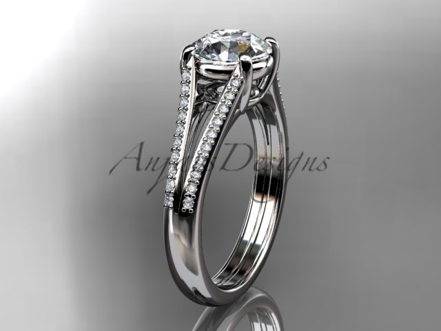 14kt white gold diamond unique engagement ring, wedding ring ADER108