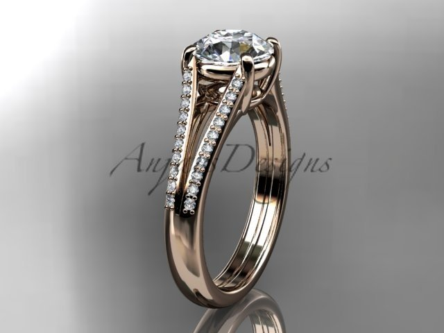 14kt rose gold diamond unique engagement ring, wedding ring with a Moissanite center stone ADER108
