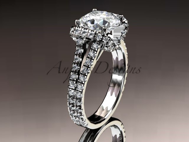14kt white gold diamond unique engagement ring,wedding ring ADER107