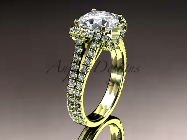 14kt yellow gold diamond unique engagement ring, wedding ring ADER107