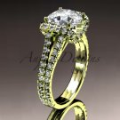 14kt yellow gold diamond unique engagement ring, wedding ring with a Moissanite center stone ADER107