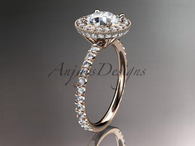 14kt rose gold diamond unique engagement ring, wedding ring ADER106