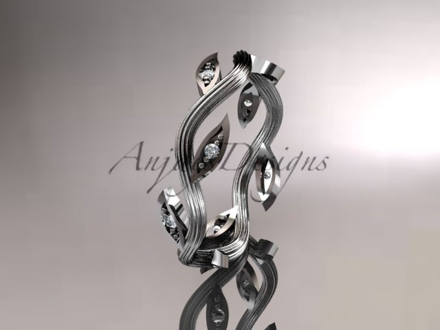 14k white gold diamond leaf and vine wedding ring, engagement ring, wedding band ADLR102