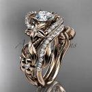 14kt rose gold diamond unique flower, leaf and vine engagement set ADLR211