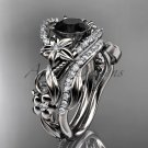 Platinum diamond engagement set with a Black Diamond center stone ADLR211