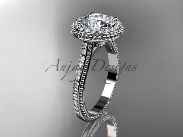 14kt white gold diamond unique engagement ring, wedding ring ADER97