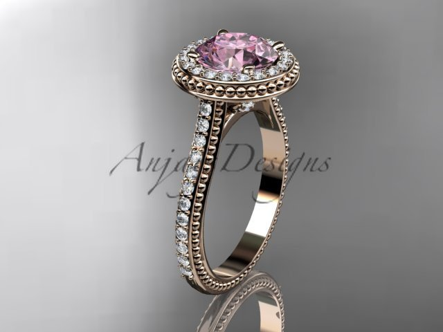 14kt rose gold diamond unique engagement ring, wedding ring with a Morganite center stone ADER97