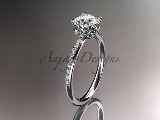 14kt white gold diamond floral wedding ring, engagement ring ADLR92