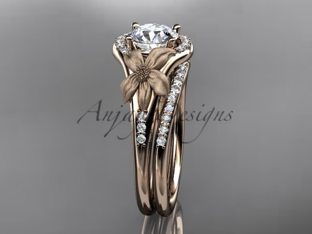 14kt rose gold diamond leaf and vine wedding ring, engagement set ADLR91 nature inspired jewelry