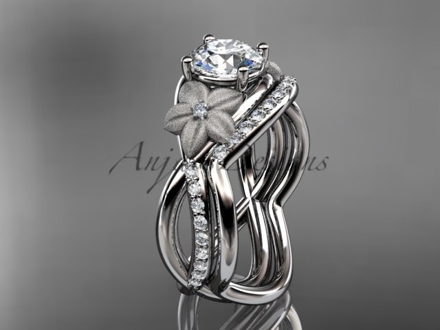 Platinum diamond leaf and vine wedding ring, engagement set ADLR90