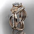 14kt rose gold diamond leaf and vine wedding ring, engagement ring ADLR90