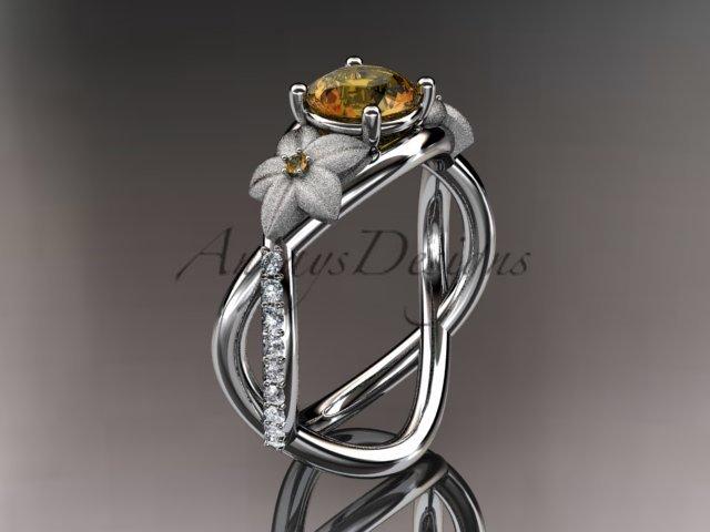 14kt white gold diamond leaf and vine birthstone ring ADLR90 Citrine November\'s birthstone