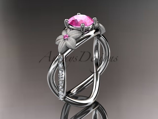 14kt white gold diamond leaf and vine birthstone ring ADLR90 Pink Tourmaline - October\'s birthstone