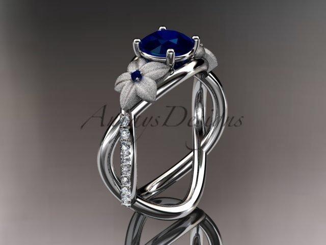 14kt white gold diamond birthstone ring ADLR90 Sapphire - September\'s birthstone