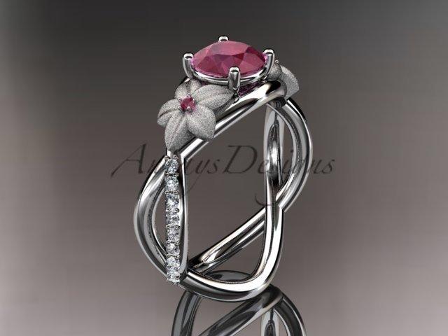 14kt white gold diamond leaf and vine birthstone ring ADLR90 Ruby - July\'s birthstone