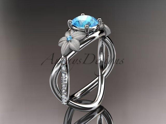 14kt white gold diamond leaf and vine birthstone ring ADLR90 Aquamarine - March's Birthstone.